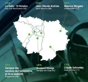 Carte des centres Aforpa