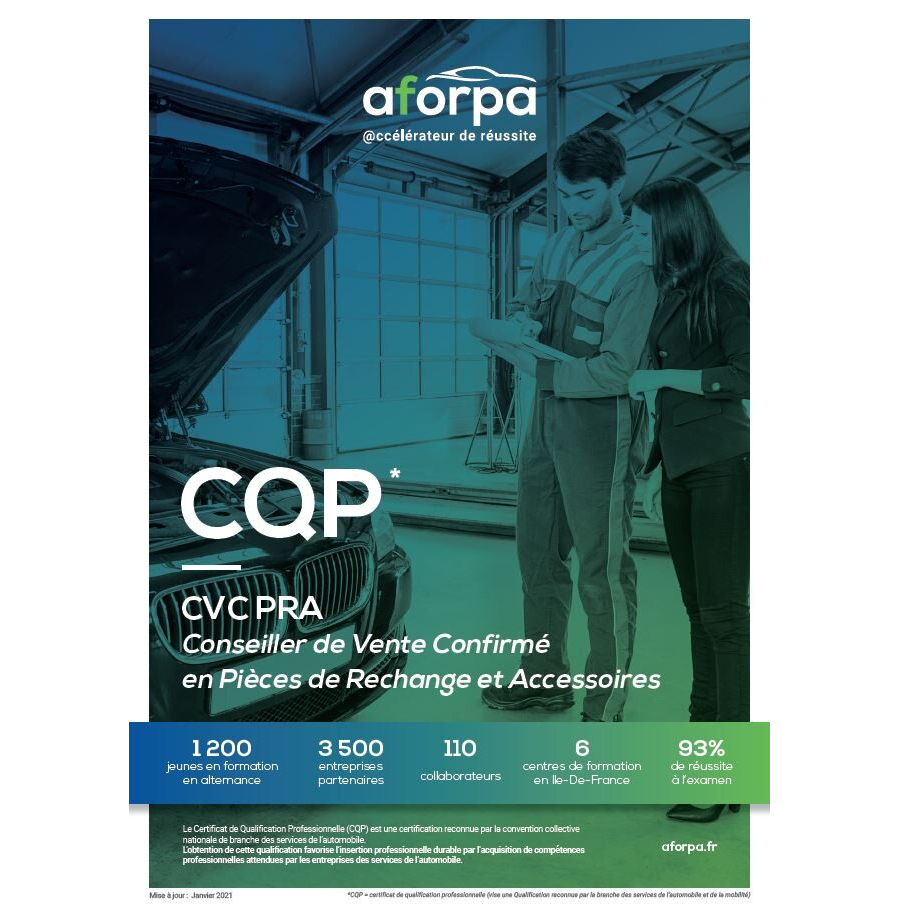 CQP CVC PRA Conseiller de Vente Confirmé en Pièces de Rechange et Accessoires
